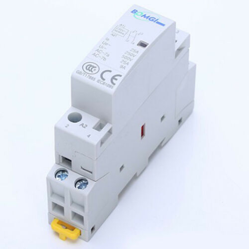 25A 230V 2 Pole Contactor AC 2 Normally Open DIN Rail Mount Heating Lighting