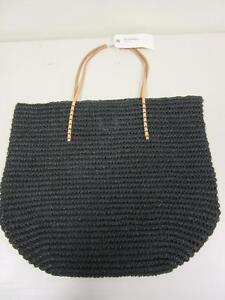 072627107d4e Merona Target Leather Straw Beach Tote Bag Purse Black Natural Paper ...