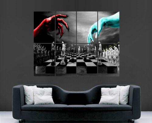 CHESS MATCH GOD VS DEVIL POSTER WALL ART PRINT EVIL HEAVEN HELL LARGE GIANT