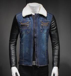 49e18320fe0 Image is loading Winter-leather-Mens-sleeve-winter-warm-denim-jacket-