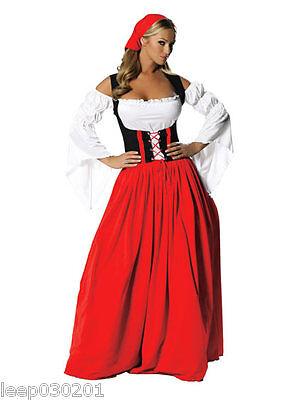 Sexy Ladies Oktoberfest German Maid Fancy Dress Medieval Costume Hen Party Beer
