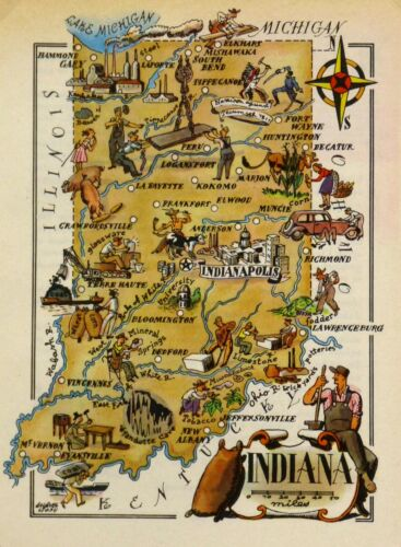 Indiana Antique Vintage Pictorial Map