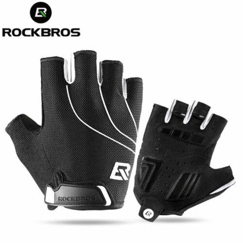 RockBros Short Half Finger Cycling Shockproof Breathable Gloves Black Mittens