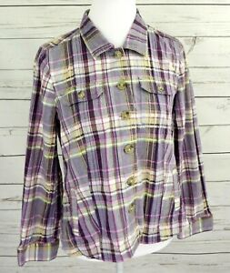 Christopher-amp-Banks-Top-Womens-Medium-M-Purple-Plaid-Button-Long-Sleeve-Collared