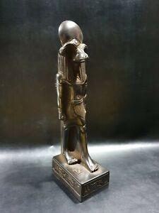 God of the source of the Nile KHNUM , Replica Altar statue made of  Black basalt
