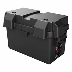 Secure Snap Top Battery Box Automotive Marine RV Batteries Storage Holder Black