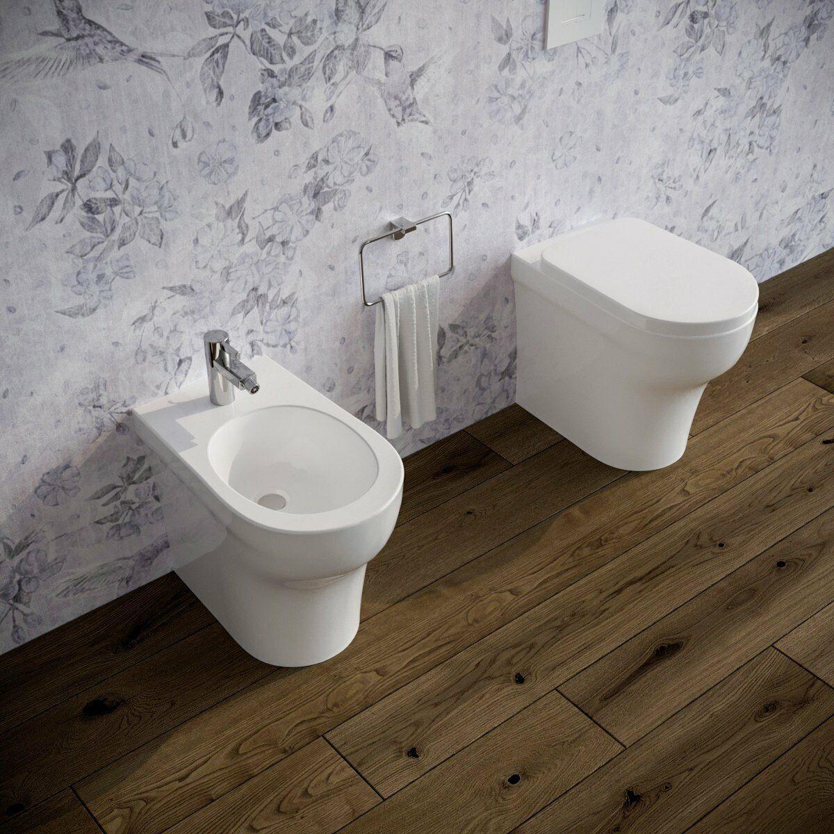 Sanitari bagno a terra filomuro VASO wc, BIDET e COPRIVASO. AZZURRA Pratica