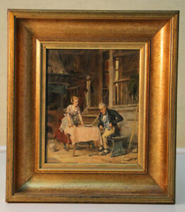 Small-Oil-Painting-Tavern-Scene-Signed-Gerard-Painting