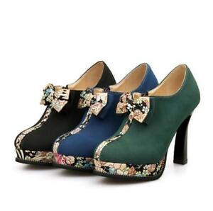 Womens-High-Heels-Platform-Shoes-Pumps-Occident-Pull-On-Fashion-Bowknot-Suede-Sz