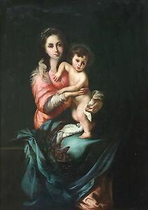 Madonna-and-Child-Antique-Old-Master-Oil-Painting-aft-Bartolome-Esteban-Murillo