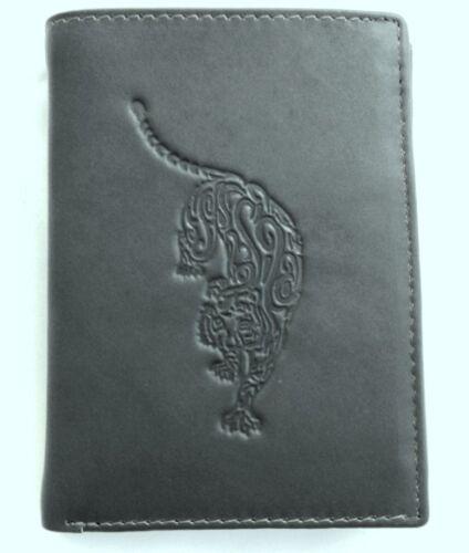 Stefano Cuir Bourse Portefeuille Porte-monnaie combi bourse noir gris motif tigre