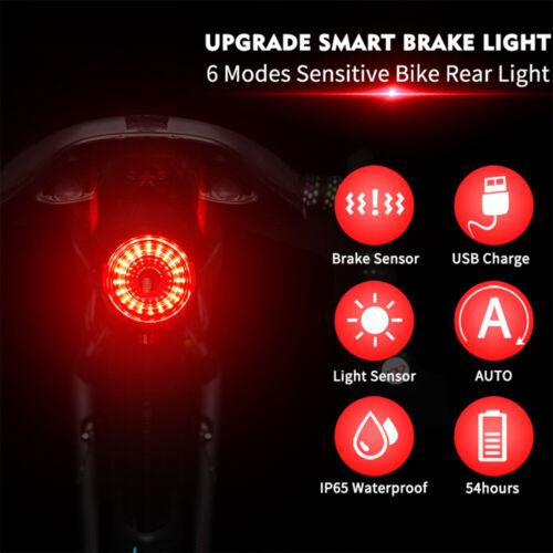 Smart Bike Tail Light USB Rechargeable Ultra Bright Rear Light Auto On//Off F0U9