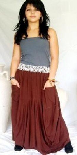 Brown full skirt lagenlook boho gyspy One size  M L XL 1X 2X 3X 4X PLUS SIZE