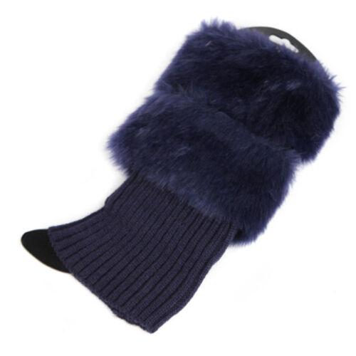 Women Winter Leg Warmers Lady Crochet Knit Fur Trim Leg Boot Socks Toppers Cuffs