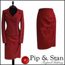 NEXT RED PENCIL SKIRT SUIT SIZE UK14 US10 WOMENS LADIES 50S INSPIRED
