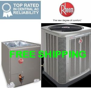 Details about 3 Ton Rheem R-410A 14SEER A/C Condensing Unit & Evaporator  Coil