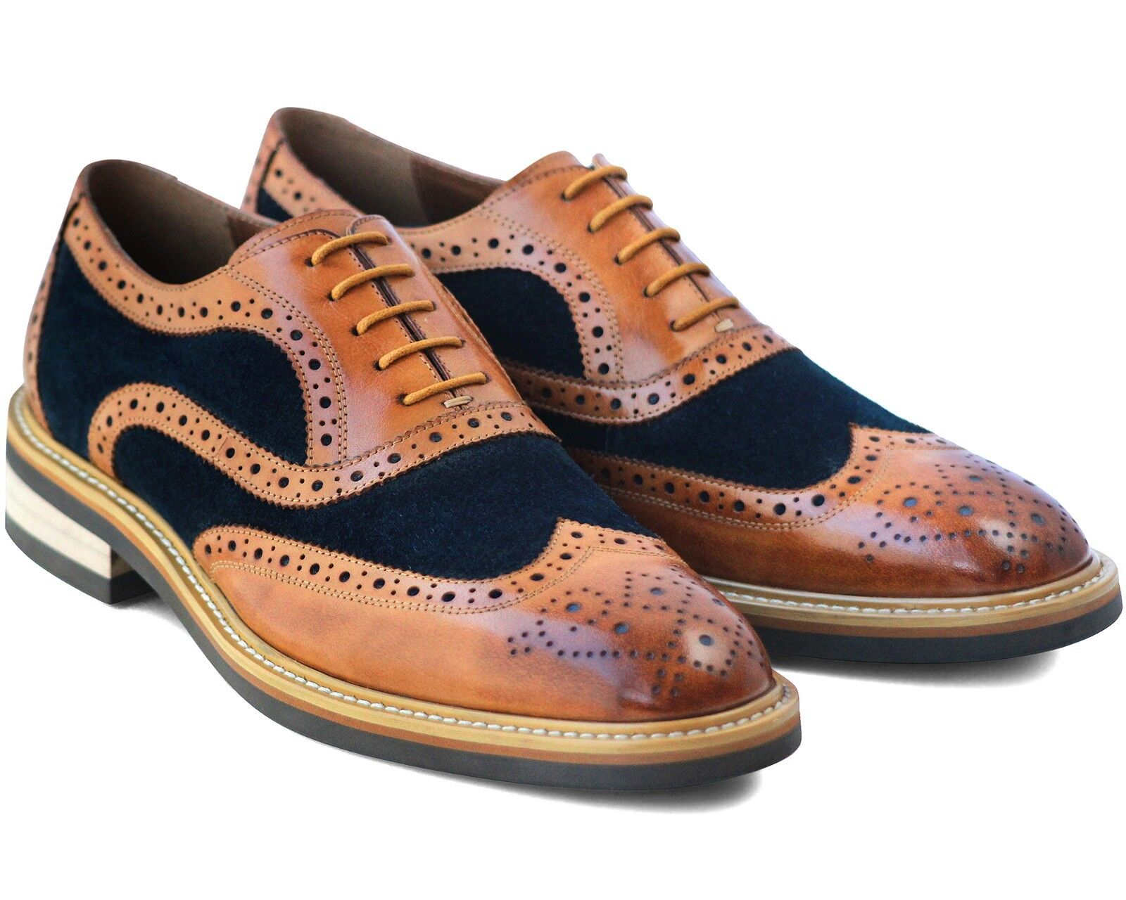 865 NEW MENS BROWN BROGUE SHOES LACE UP REAL LEATHER & NAVY SUEDE