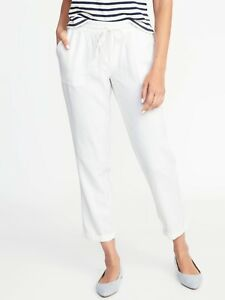 designer fashion value for money highly coveted range of Details about Old Navy Mid-Rise Linen-Blend Cropped Pants for Women Bright  White PL #205127