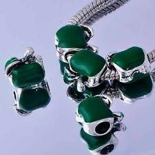 5 green apple european bead White Gold charms lot fit bracelet free shipping new