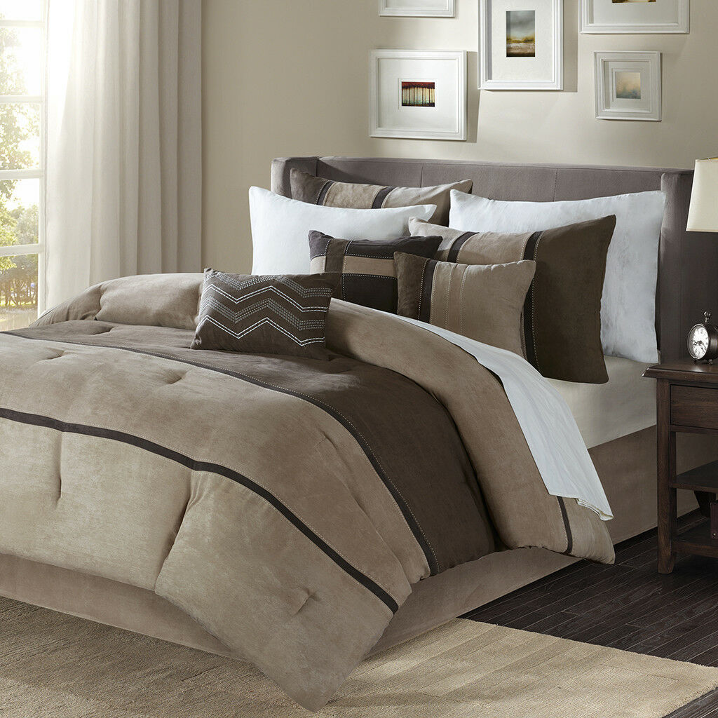 BEAUTIFUL MODERN ULTRA PLUSH SOFT braun TAUPE STRIPE SUEDE TAN COMFORTER SET