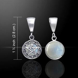Pentacle Moon Phase Reversible Rainbow Moonstone Amethyst Sterling Silver Ring