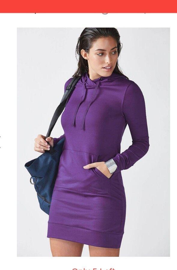 RARE NWT Fabletics MEDIUM 8 Yukon Mini Hoodie Sweatshirt Dress Eggplant Purple