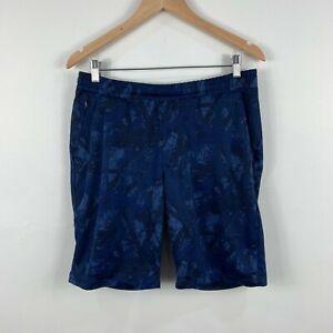Uniqlo-Mens-Shorts-Size-Large-Navy-Blue-Side-Pockets-Drawstring-Elastic-Waist