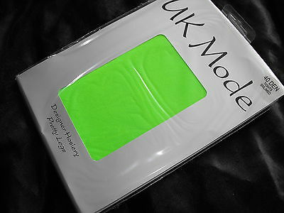 NEW 40 DENIER TIGHTS CLUBBING CYBER OPAQUE NEON GREEN FOOTLESS - SMALL TO MEDIUM