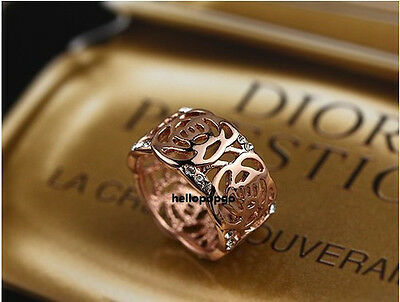 18K Rose Gold GP Swarovski Crystal Antique Flower Wide Fashion Ring BR807