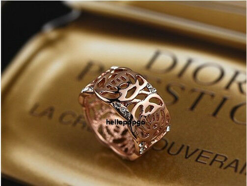 18K Rose Gold GP Austrian Crystal Antique Flower Wide Fashion Ring BR807