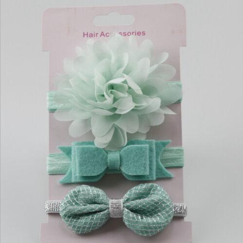 3pcs Kid Girl Baby Toddler Bow Headband Hair Band Accessories  X