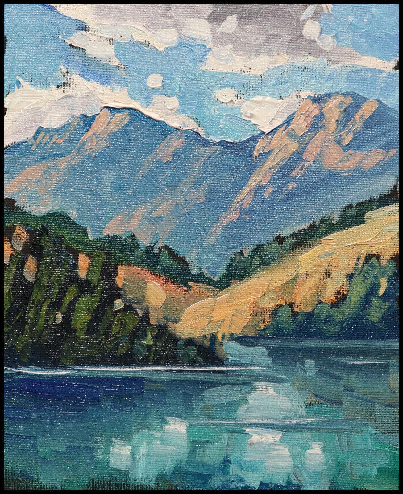 HAWKINS Western Mountain Lake Landscape Impressionism Oil Painting Art  Original 6