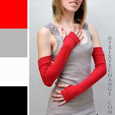 Womens Red Long Cotton Fingerless Arm Warmers Gloves Winter Warm Indoor Diy 1009