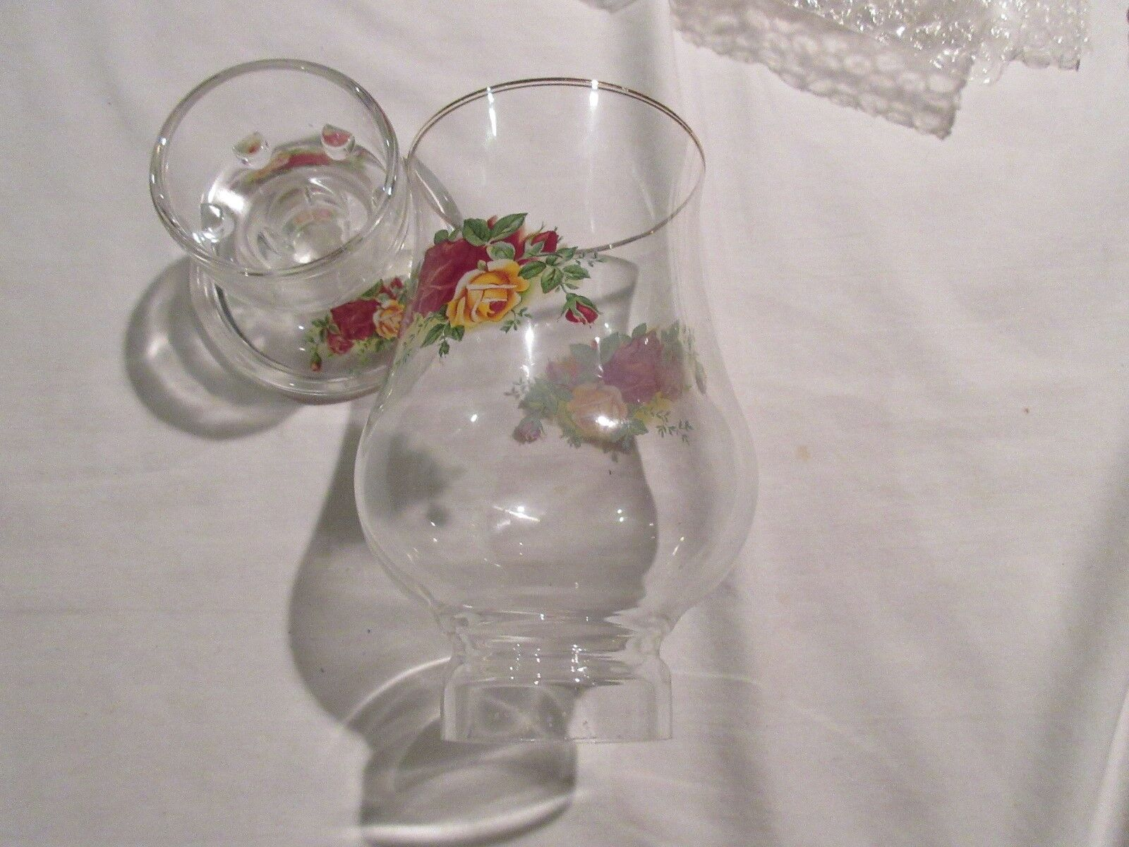 Glass, Decorative Glass In Stand, Floral Arrangement On