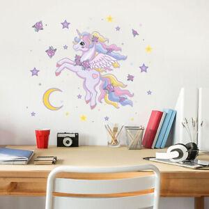 Détails sur Imperméable Licorne Enfants Filles Mur Chambre à Coucher  Sticker Mural Art