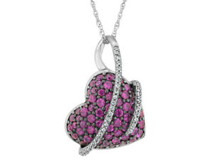 Created Ruby and White Sapphire Heart Pendant in Sterling Silver