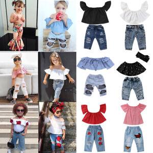 4f52b82ab74f Canis Toddler Kids Baby Girls Off Shoulder Tops Hot Denim Pants ...