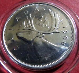 1969-CANADA-25-CENTS-034-PROOF-034-SILVER-COIN-Nice-Brilliant-Uncirculated-Coin