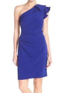 87ef3836f0dc CARMEN MARC VALVO~Blue Crepe Ruched Ruffle One Shoulder Sheath Dress ...