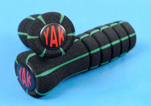 YAK Bicycle Handlebar Grips Slipstream Black w// Green Stripes