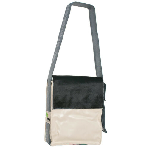 Messenger Bag CITY  Kuhfell schwarz /& LKW-Plane 31x25x10 cm beige