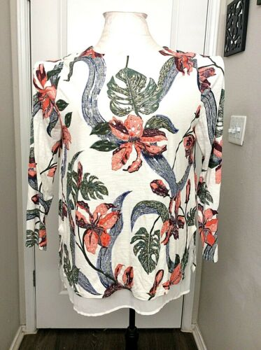 Soft Surrounding Womens Blouse Top Tropical Floral