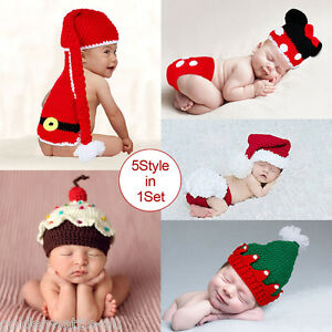 5pcs Newborn Baby Girls Boys Cashmere Costume Cap Xmas Photo Photography Outfits