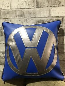 17-Faux-Leather-Vw-Blue-And-Silver-Cushion-Inner-Campervan-Choose-Colour