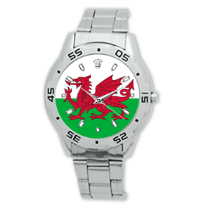 Men-039-s-Football-Wales-Flag-Country-Welsh-Watch-Stainless-Steel-Bracelet-Strap