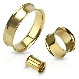 PAIR-of-GOLD-Plated-DOUBLE-FLARE-EAR-PLUGS-Gauges-FLESH-TUNNELS-Piercing-Jewelry