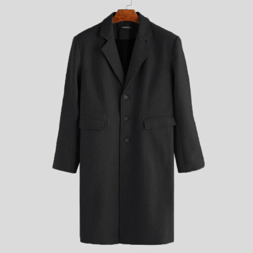 Mens Winter Long Sleeve Duster Coat Single Breasted Trench Jacket Overcoats Tops