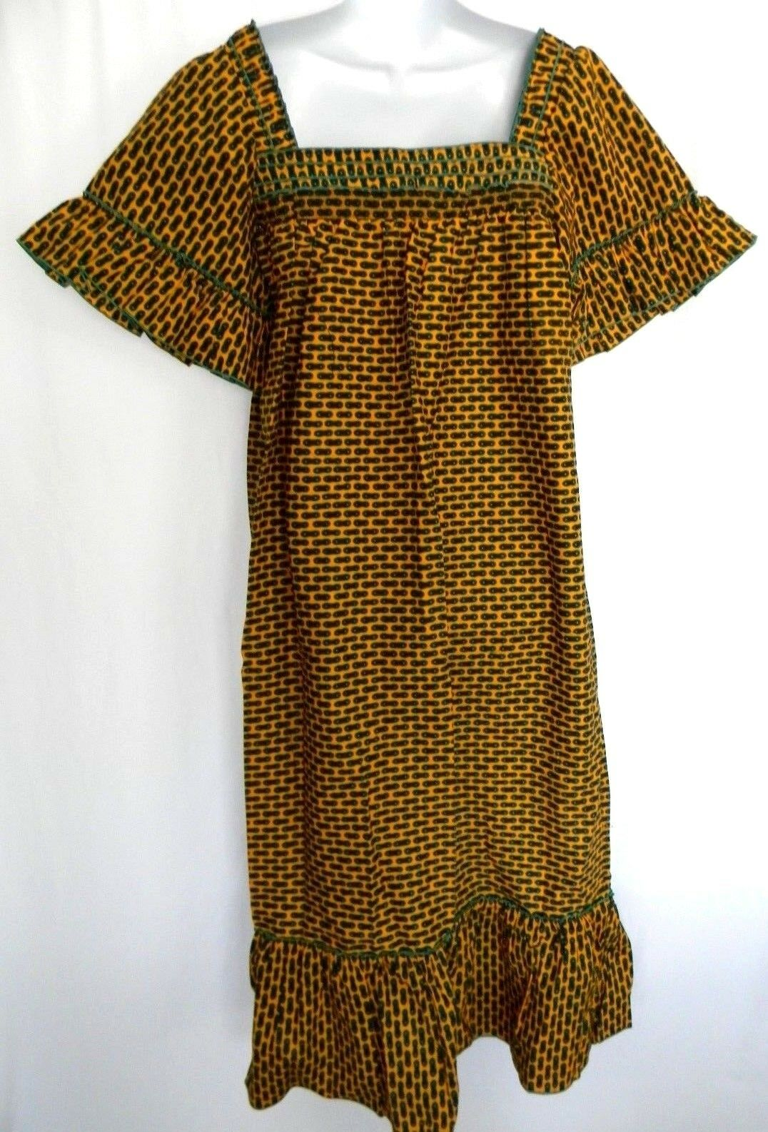 African Wax Fabric Ankara Maxi Dress,Detail Square Neckline damen Größe L Dashiki