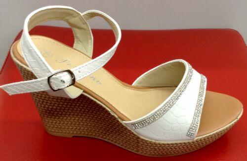 Damen Schuhe Glitter Sommer Riemchen Sandalen Weiß Keilabsatz Bequeme  Gr 36-41