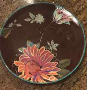 Tracy Porter Vivre DINNER PLATE Hand Crafted Painted Stoneware Brown ...